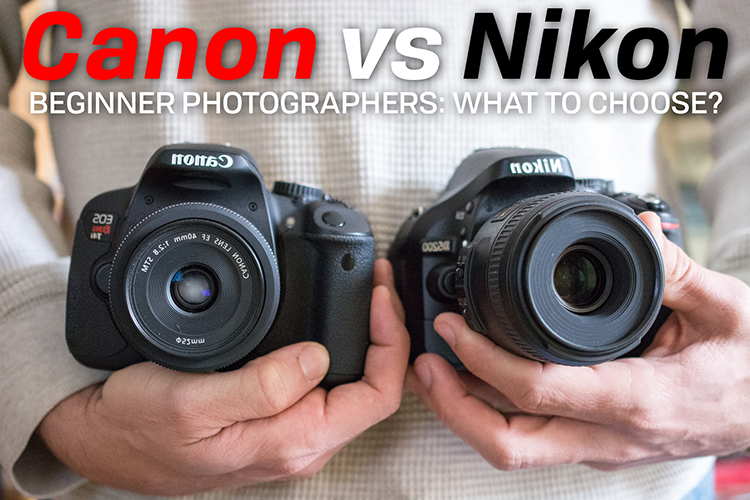 canon vs nikon beginner photography holding both cameras